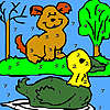 Allein Hund und Ente Färbung Spiel