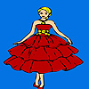 Schön rot gekleidete Mädchen Färbung Spiel
