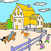 Großer Bauernhof und Pferde Malvorlagen Spiel