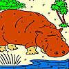 Großen Otter im Fluss Färbung Spiel