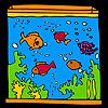 Großes Aquarium und bunte Fische Färbung Spiel