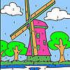 Große Windmühle Färbung Spiel