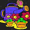 Grosse Blumen im Garten Färbung Spiel