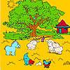 Großer Bauernhof Baum und Tiere Malvorlagen Spiel