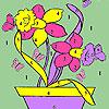 Schmetterlinge und Blumen im Topf Färbung Spiel