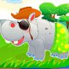 Niedliche Nilpferd Pflege Spiel