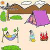 Niedliche Picknick Zeit Färbung Spiel