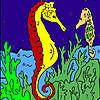 Tiefen Seepferdchen Färbung Spiel