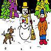 Hund und Winter Nacht Färbung Spiel