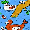 Entenfamilie im Fluss Färbung Spiel