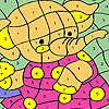 Elefant im rosa Kleid Färbung Spiel