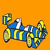 Schnelle gestreiften Rennsport Auto Färbung Spiel