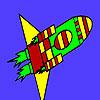 Schnelle Rakete im Raum Färbung Spiel