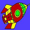Fliegende Space Rakete Färbung Spiel