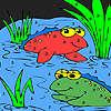 Frosch-Freunde im See Färbung Spiel