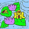 Frösche und Seerosen Färbung Spiel