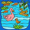 Lustige Entenfamilie im See Färbung Spiel