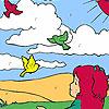 Mädchen und Vögel im Feld Färbung Spiel