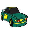 Grüne schnelles Auto Färbung Spiel