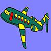 Grünen fliegenden Flugzeug Färbung Spiel