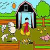 Lämmer Bauernhof Färbung Spiel