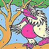 Frau Rosa Papagei Färbung Spiel