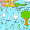 Little farm and ducks coloring Spiel
