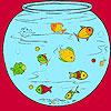Kleine Fische im Aquarium Färbung Spiel