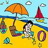 Kleines Mädchen im Strand Färbung Spiel