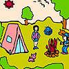 Kleine Familie auf dem camp Färbung Spiel
