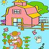 Kleiner Junge im Garten Färbung Spiel
