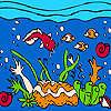 Meer und bunte Fische Färbung Spiel