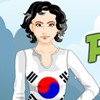 Schwungvoll patriotischen Südkorea Girl Spiel