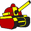 Red military tank coloring Spiel