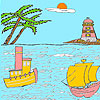 Sea and lighthouse coloring Spiel