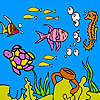 Sea turtle and fishes coloring Spiel
