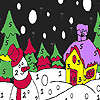 Snowman in the winter night coloring Spiel