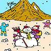 Snowman and children on the mountain coloring Spiel