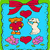 Valentines day animals in frame coloring Spiel