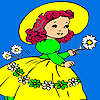 Village girl and flowers coloring Spiel