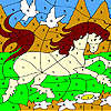 White doves and horse coloring Spiel