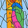 Woodpecker in the forest coloring Spiel